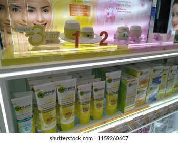 KUALA LUMPUR,MALAYSIA - AUGUST, 2018: Garnier cosmetics display for sale in shop. Garnier is a market cosmetics Brand of French cosmetics company Loreal. It produces hair care and skin care product.