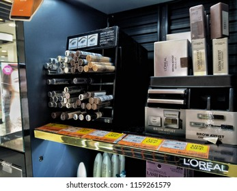 KUALA LUMPUR,MALAYSIA - AUGUST, 2018: Loreal cosmetic products sit on display for sale in shopping mall. It is world's largest cosmetics company in France.