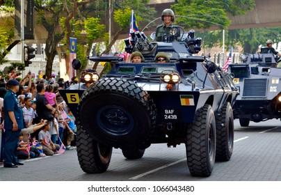 KUALA LUMPUR,MALAYSIA - AUGUST 31,2015 : Malaysian military armoured vehicle cruise the road during 58th National Day celebration at Merdeka Square in Kuala Lumpur.