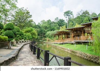 Kuala Lumpur,Malaysia – August 31,2018 : Scenic view of the Kuala Lumpur Perdana Botanical Gardens, featuring the view of the Bamboo Playhouse.
