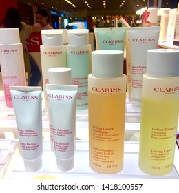 Kuala Lumpur,Malaysia -,Circa June 2019-, A store in upmarket mall in Kuala Lumpur carrying the famous French luxury product brand Clarins perfumes,skincare and cosmetics.