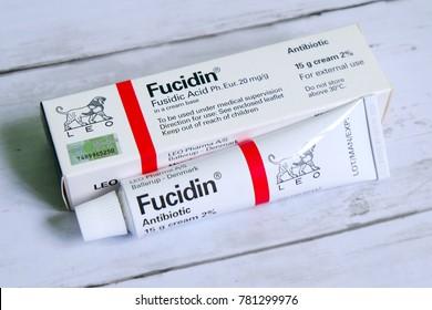 Kuala Lumpur,Malaysia - December 24th,2017 : Fucidin cream on a table produced by Leo Pharma A/S. Leo Pharma A/S is a multinational Danish pharmaceutical company, founded in 1908.