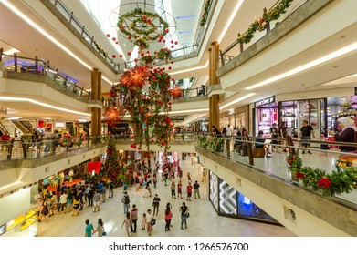 Kuala Lumpur,Malaysia - December 25,2018 : Beautiful Christmas decoration in The Gardens Mall. People can seen exploring and shopping around it.