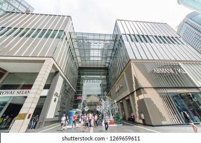 Kuala Lumpur,Malaysia - December 29,2018 : Christmas decoration at the entrance of the Pavilion Kuala Lumpur. People can seen exploring and shopping around it.