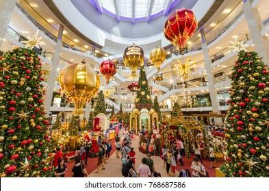 Kuala Lumpur,Malaysia - December 4,2017 : Christmas decoration in Pavilion Kuala Lumpur. People can seen exploring and shopping around it.