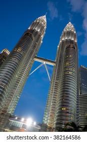 KUALA LUMPUR,MALAYSIA - FEB 20, 2016: The Petronas Towers,Petronas Twin Towers are twin skyscrapers in Kuala Lumpur, Malaysia.