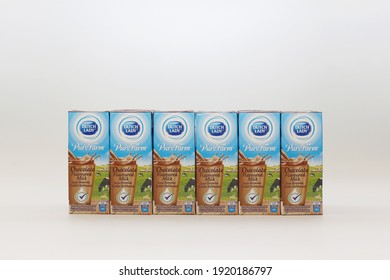 Kuala Lumpur,Malaysia; Feb 2021 - Dutch lady branded chocolate milk is the most popular milk in various countries. Picture on a white background and selective focus with some noise and grain.