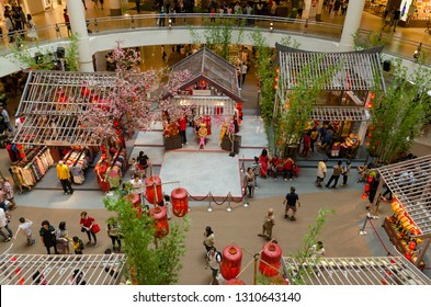 Kuala Lumpur,Malaysia - February 7,2019 : Beautiful Chinese New Year decoration in Mid Valley Megamall. People can seen exploring and shopping around it.
