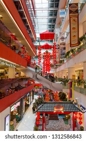 Kuala Lumpur,Malaysia - February 8,2019 : Beautiful Chinese New Year decoration in Sunway Putra Mall. People can seen exploring and shopping around it.