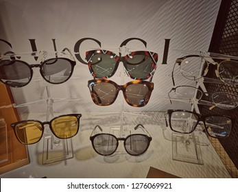 Kuala Lumpur,Malaysia - January 2019 :  Gucci sunglasses display at Mitsui outlet.Gucci is an Italian luxury brand of fashion and leather goods.