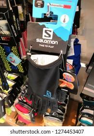 Kuala Lumpur,Malaysia - January 2019 : Inside Salomon store at Mitsui outlet store. SALOMON International. Sporting goods for men, women and children.