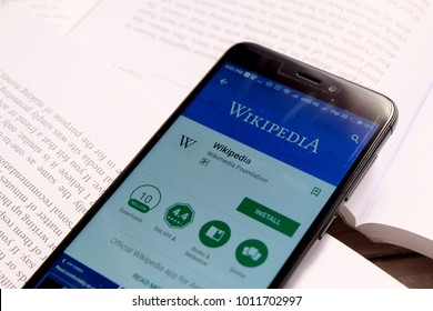 Kuala Lumpur,Malaysia - January 28th,2018 : Wikipedia apps on android play store.Wikipedia is a free online encyclopedia with the mission of allowing anyone to edit articles.