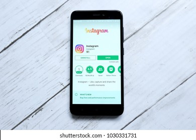 KUALA LUMPUR,MALAYSIA - JANUARY 28TH,2018:Instagram app on android Play Store.Instagram created by Kevin Systrom and Mike Krieger, and launched in October 2010.