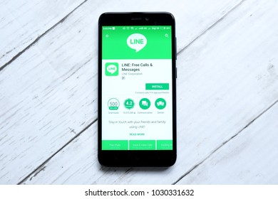 KUALA LUMPUR,MALAYSIA - JANUARY 28TH,2018:Line app on android Play Store.Line launched in Japan in 2011.