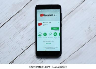 KUALA LUMPUR,MALAYSIA - JANUARY 28TH,2018:Youtube Kids app display on android Play Store.