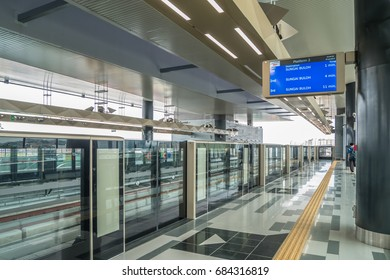 Kuala Lumpur,Malaysia - July 25,2017 : Latest MRT (Mass Rapid Transit) kajang platform. MRT is the latest public transportation system in Klang Valley from Sungai Buloh to Kajang.
