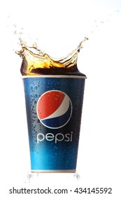 kuala Lumpur,Malaysia Jun 2nd 2016 ,paper cup of Pepsi cola on  white background, Pepsi is a carbonated soft drink produced PepsiCo. Created in 1893