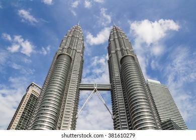 KUALA LUMPUR,MALAYSIA - JUNE 14, 2013: The Petronas Towers,Petronas Twin Towers are twin skyscrapers in Kuala Lumpur, Malaysia. Malaysia.Malaysia is a member of Asean Economic Community (AEC)