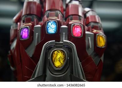 KUALA LUMPUR,MALAYSIA - JUNE 28, 2019: Iron Man Infinity Stone Gauntlet are seen on display during Marvel Studios: Ten Years of Heroes Exhibition at Pavilion Kuala Lumpur.