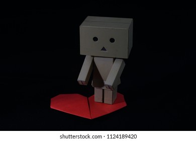 Kuala Lumpur,Malaysia June 30 2018 : danbo cute with heart isolated on black background