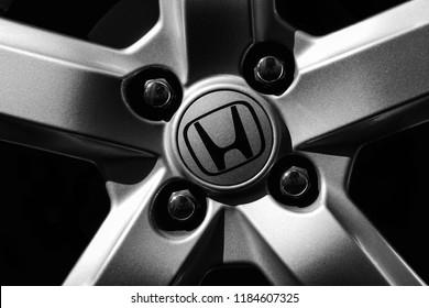 Kuala Lumpur,Malaysia - June 30,2017 : Close up of the Honda car wheel in black and white.