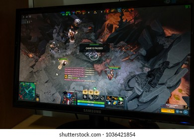 Kuala Lumpur,Malaysia - MAC 2th 2018:Dota 2 online game on desktop monitor.Dota 2 is a free to play multiplayer online battle arena video game developed and published by Valve Corporation.