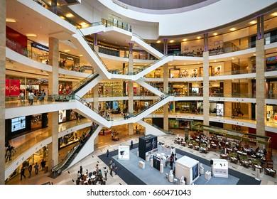 KUALA LUMPUR/MALAYSIA - MARCH 12, 2017:  Interior view of Pavilion Shopping Mall in Kuala Lumpur