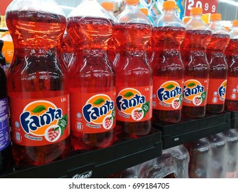 Kuala Lumpur,Malaysia March 14 2017: Can of Coca Cola company soft drink Fanta strawberry . Fanta is a global brand of fruit-flavored carbonated soft drinks created by The Coca-Cola Company.