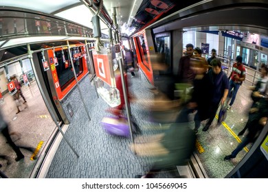 KUALA LUMPUR,MALAYSIA - MARCH 14TH 2018 : The arrival passengers at Kuala Lumpur International Airport moved quickly to catch Aerotrain goes to arrival hall