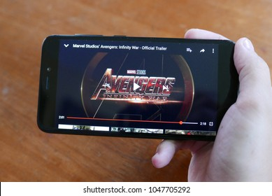 Kuala Lumpur,Malaysia - March 17th,2018 : The newly released Avengers : Infinity War trailer being played on youtube. The film based on the Marvel Comics superhero team the Avengers.