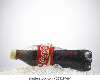 Kuala Lumpur-Malaysia : March 24,2015 Photo of a bottle of Coca-Cola Vanilla. The brand is one of the most popular soda products in the world and it is sold almost everywhere