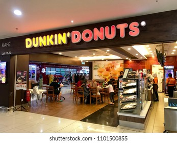 Kuala Lumpur,Malaysia - May 10 2018: Side view of Dunkin Donuts' outlet in luxury mall at Kuala Lumpur.