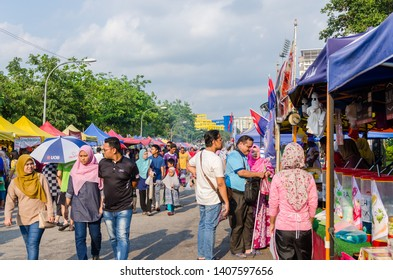 Kuala Lumpur,Malaysia - May 25, 2019 : People seen exploring and buying foods around the Ramadan Bazaar.It is established for muslim to break fast during the holy month of Ramadan.