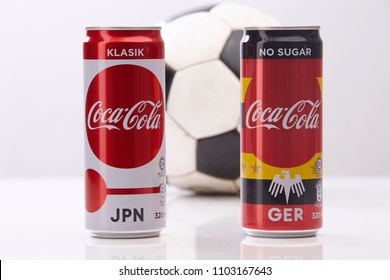 kuala lumpur,malaysia - May 28, 2018 : special edition of coca cola can in FIFA World Cup 2018 in Russia from 14 June - 15 July 2018.