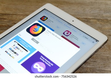 KUALA LUMPUR,MALAYSIA - NOVEMBER 16,2017: Firefox web browser in Apple store of an Ipad. The Mozilla Foundation introduced the new Firefox Quantum web browser which much faster and uses less memory.