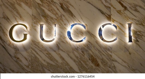 KUALA LUMPUR,MALAYSIA - NOVEMBER 4, 2018: flared sign of Gucci. Gucci is an Italian fashion and leather goods brand founded by Guccio Gucci in Florence in 1921. Gucci has about 425 stores worldwide .