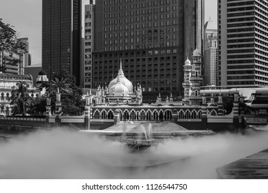 Kuala Lumpur,Malaysia -Oct 14,2017 :Masjid Jamek mosque which is located at the heart of Kuala Lumpur city. It added the new water features themed River of Life and launched in late of August in 2017.
