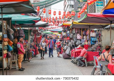 Kuala Lumpur,Malaysia - October 7, 2017 : Petaling Street is a chinatown which is located in Kuala Lumpur,Malaysia.It usually crowded with locals as well as tourists.