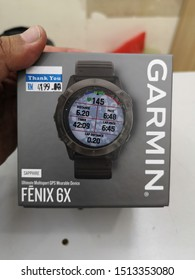 KUALA LUMPUR,MALAYSIA- SEP 25, 2019: Photo of Garmin Fenix 6X sport watch.It is a smart multi sport training GPS watch with feature sets for fitness training for outdoor and indoor sports.