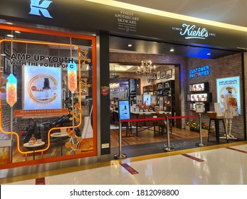 Kuala Lumpur,Malaysia - Sept 9, 2020: Kiehl's cosmetics store in shopping mall. Kiehl's is an American cosmetics brand retailer that specializes in premium skin, hair, and body care products.