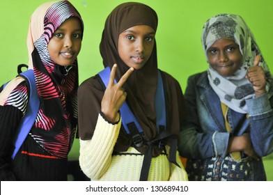KUALA LUMPUR-MALAYSIA - SEPTEMBER 2: Portrait of an unidentified Somalia refugee kids at school funded by UNHCR on September 2, 2010, Kuala Lumpur, Malaysi