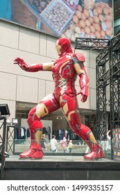 Kuala Lumpur,Malaysia - September 7,2019 : A huge Iron man statue display at the KL Pavilion, there is the Marvel Studios Ten Years of Heroes exhibit in Malaysia.