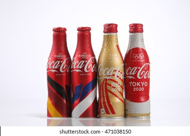 Kuala Lumpur,Malaysia,8th Aug 2016,collection of  Coca Cola europe cup,olympic rio 2016 and tokyo 2020  aluminium bottle. Coca Cola is the official product