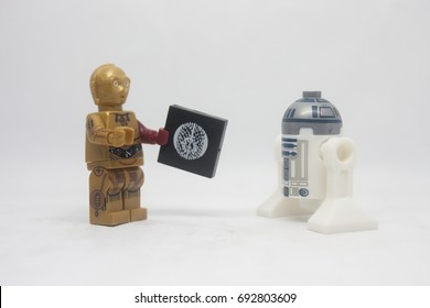 KUALA LUMPUR,MALAYSIA-AUGUST 7 2017:close up of Lego star wars C3PO and R2D2 isolated on white background