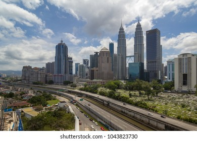 KUALA LUMPUR,MALAYSIA-FEBRUARY 11 2018:The Kuala Lumpur city views from high vintage point during day time