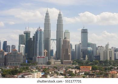 kuala lumpur,malaysia-january 8 2017(daylight moments of petronas twin tower with skyline)