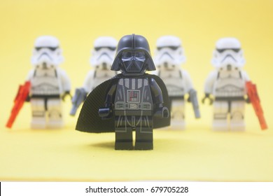 kuala lumpur,malaysia-july 18 2017;close up of lego star wars storm troopers over yellow background.