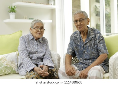 KUALA LUMPUR,MALAYSIA-JUNE 16 2018:An old Malay couple at age of 80 still live healthy shot in a house