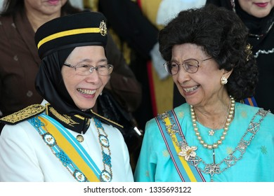 Kuala Lumpur,Malaysia-March 11,2019.Malaysia Deputy Prime Minister ,Wan Azizah Wan Ismail sharing a light moments with wife Malaysia prime minister ,Hasmah Mohamad Ali at Parliament opening ceremony