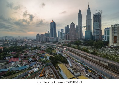 KUALA LUMPUR,MALAYSIA-MAY 4 2016:The petronas twin tower and its surrounding views during cloudy sunrise